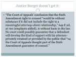 justice burger doesn t get it