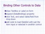 binding other controls to data