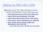 setting up ado with a dsn
