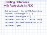 updating databases with recordsets in ado