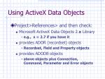 using activex data objects