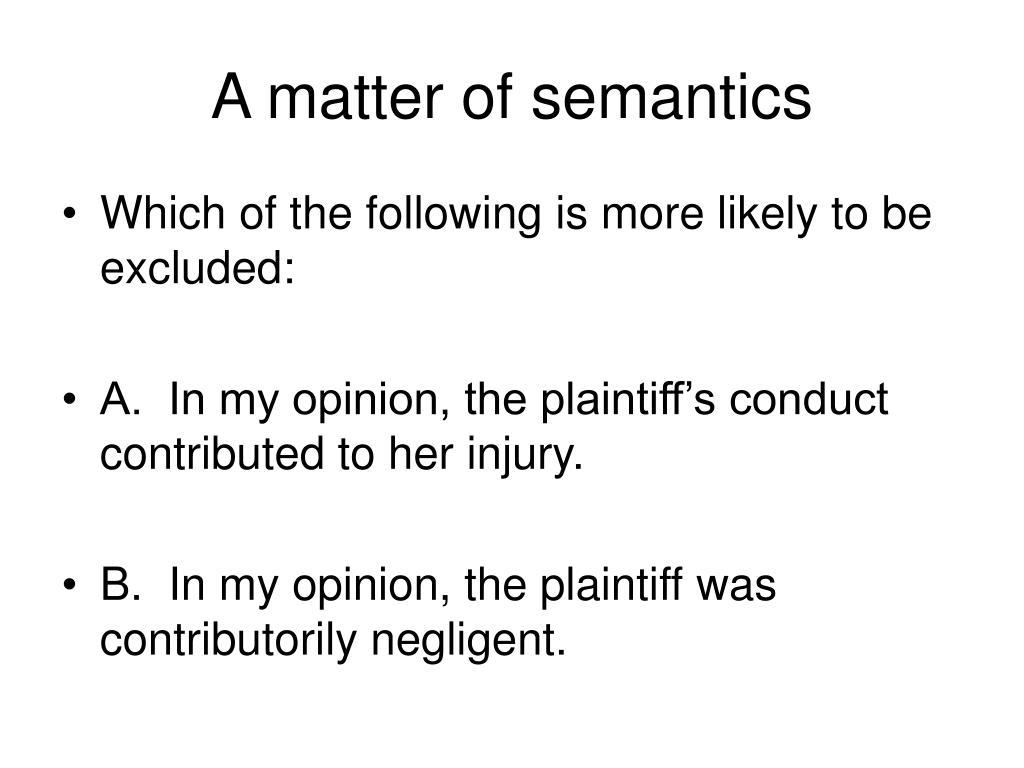 A matter of semantics