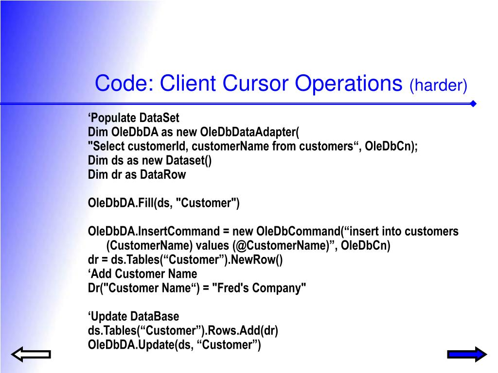 Code: Client Cursor Operations