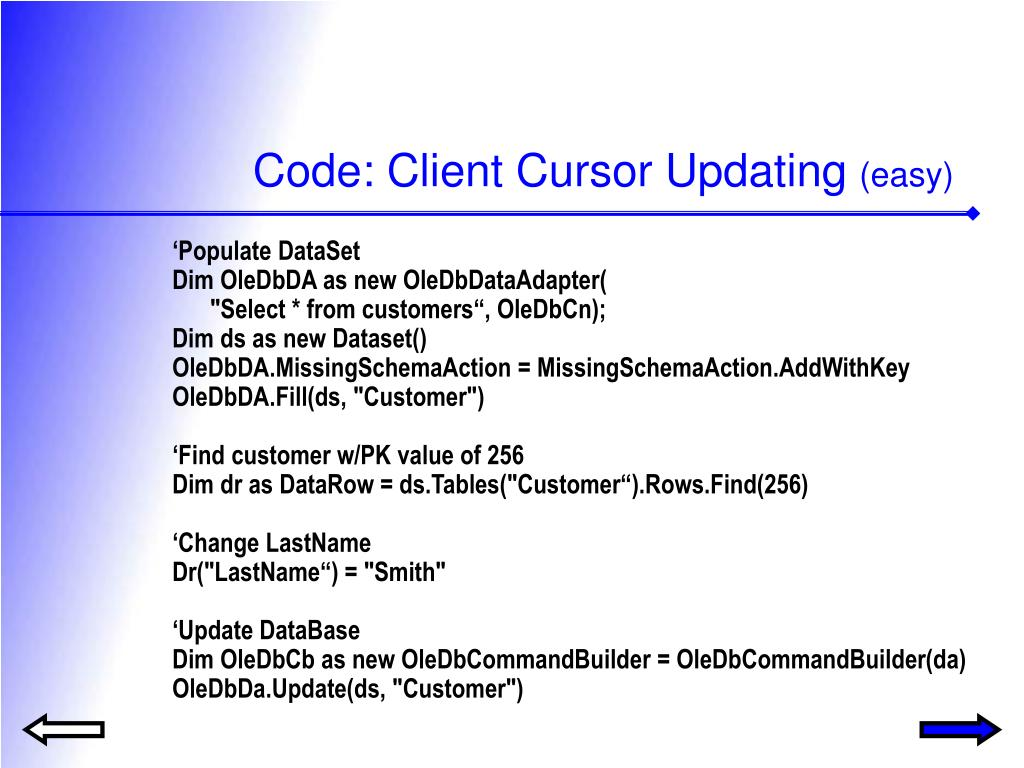 Code: Client Cursor Updating