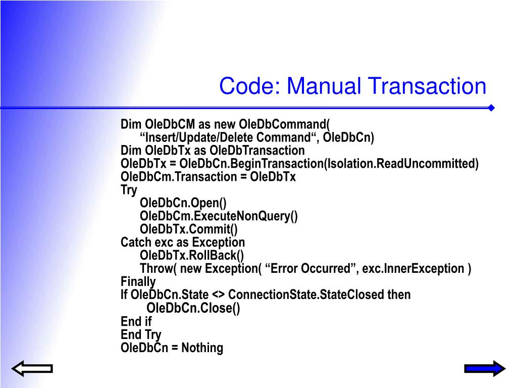 Code: Manual Transaction
