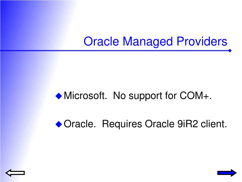 Oracle Managed Providers