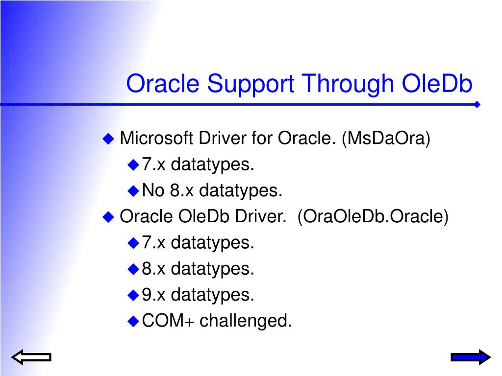 Oracle Support Through OleDb