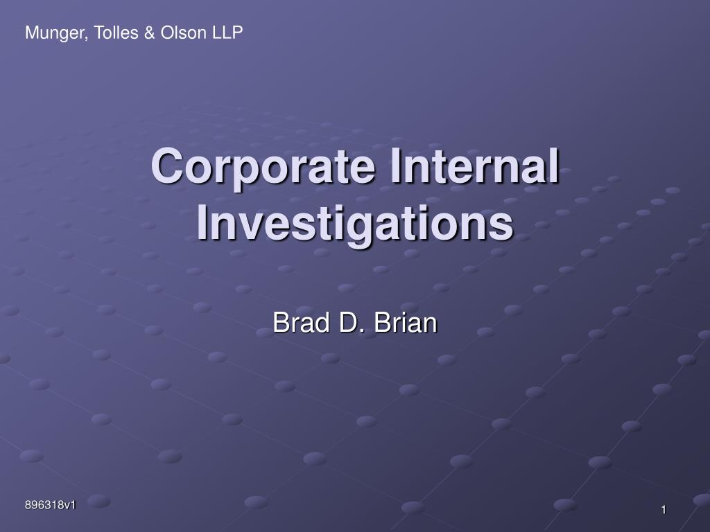 corporate internal investigations l.