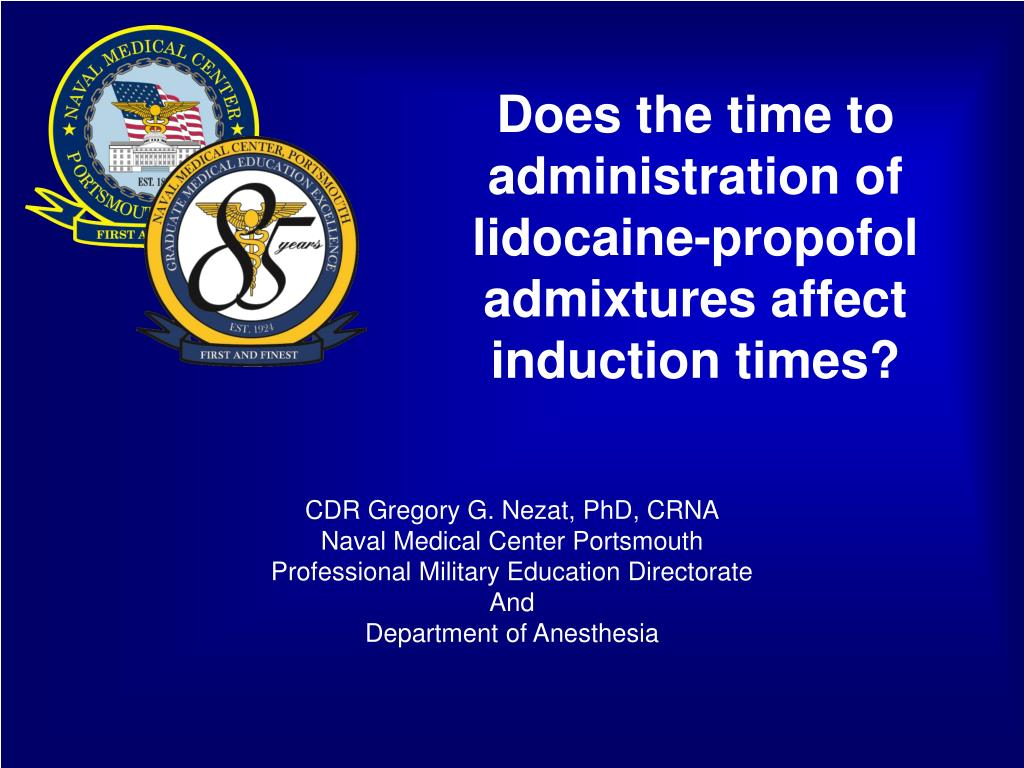 does the time to administration of lidocaine propofol admixtures affect induction times l.