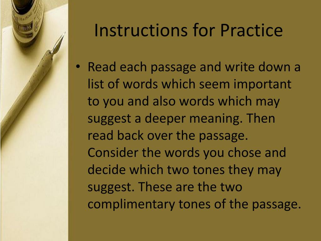 Instructions for Practice