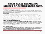 state rules regarding number of cheerleaders cont