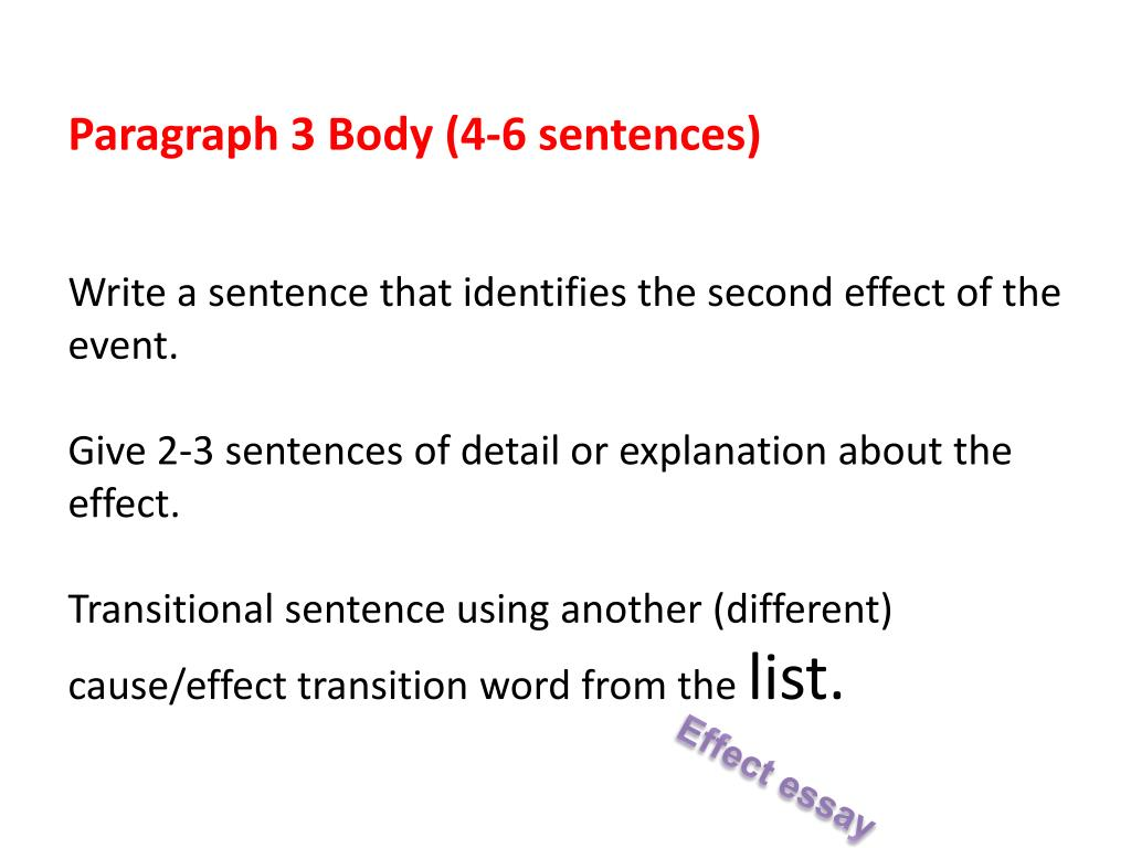 3 paragraph cause and effect essay