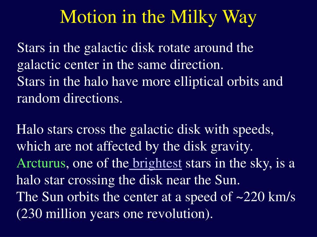Motion in the Milky Way