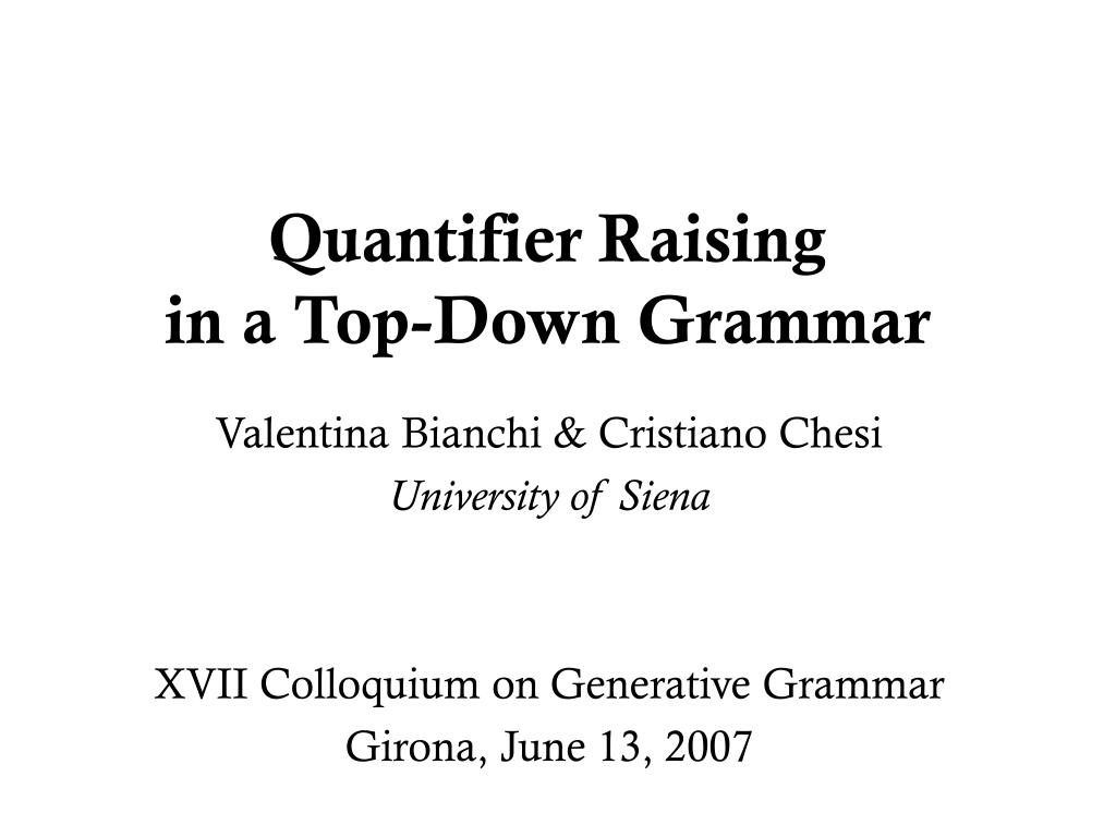 quantifier raising in a top down grammar l.