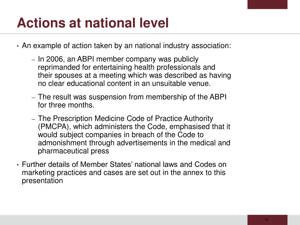 Actions at national level