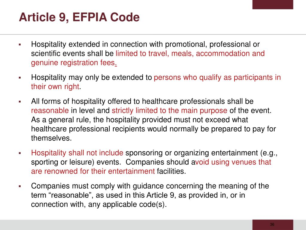 Article 9, EFPIA Code