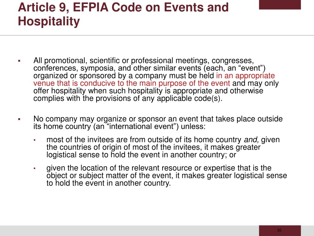 Article 9, EFPIA Code on Events and Hospitality