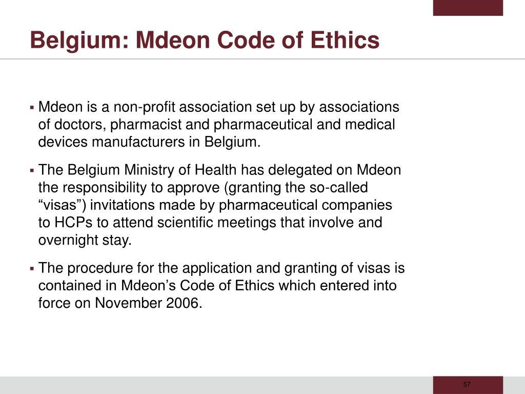 Belgium: Mdeon Code of Ethics