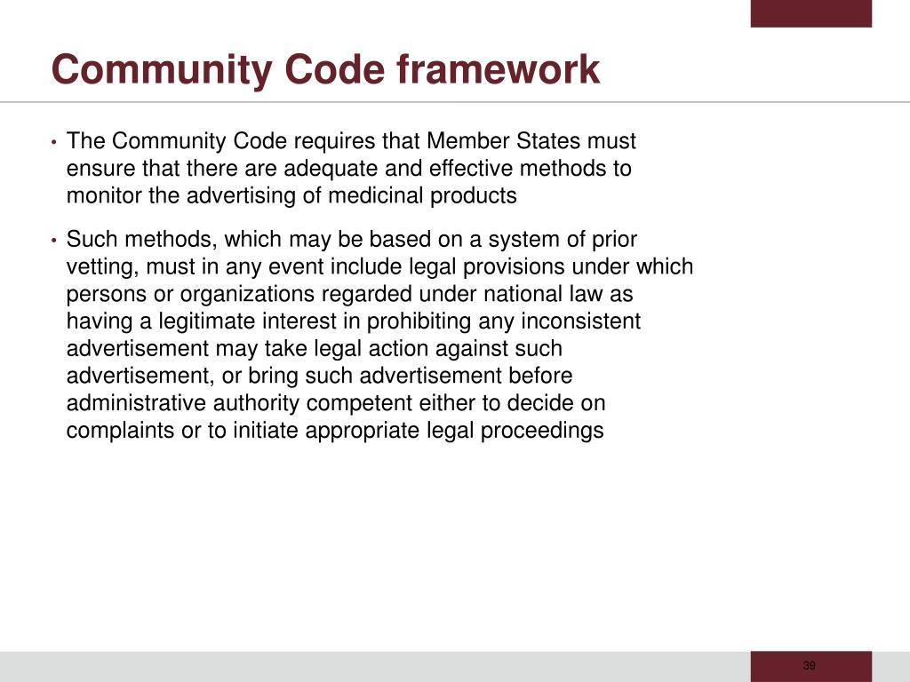 Community Code framework