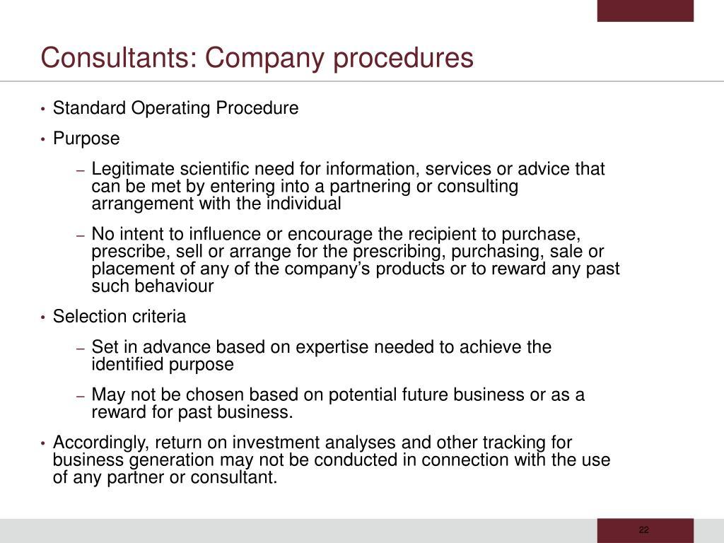Consultants: Company procedures