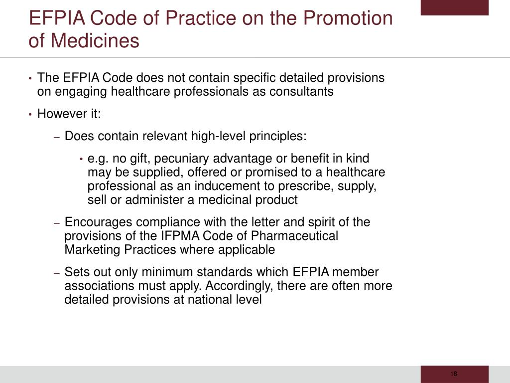 EFPIA Code of Practice on the Promotion of Medicines