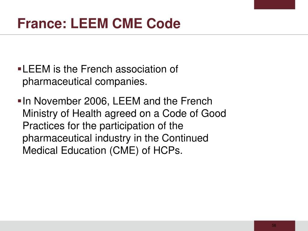 France: LEEM CME Code