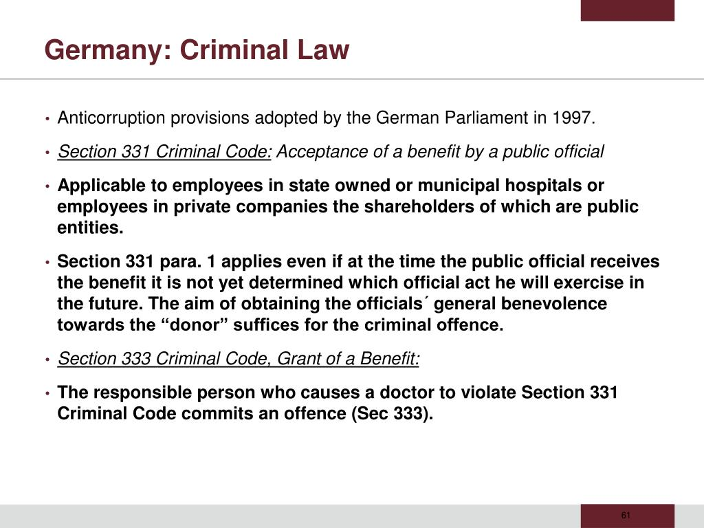 Germany: Criminal Law