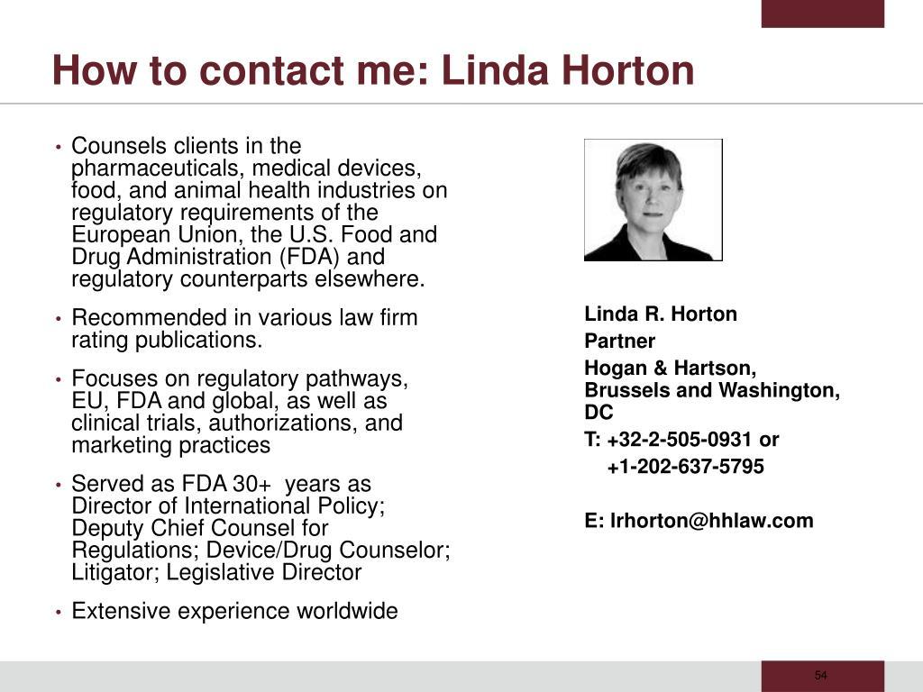 How to contact me: Linda Horton