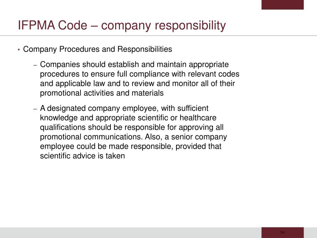 IFPMA Code – company responsibility