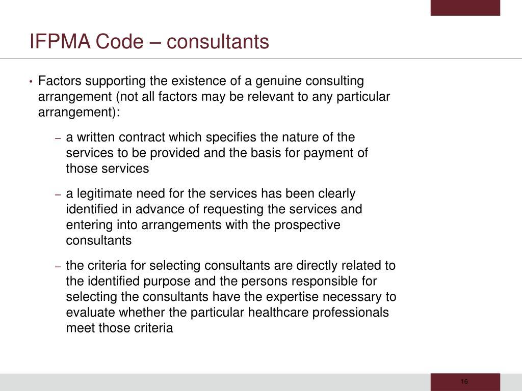 IFPMA Code – consultants