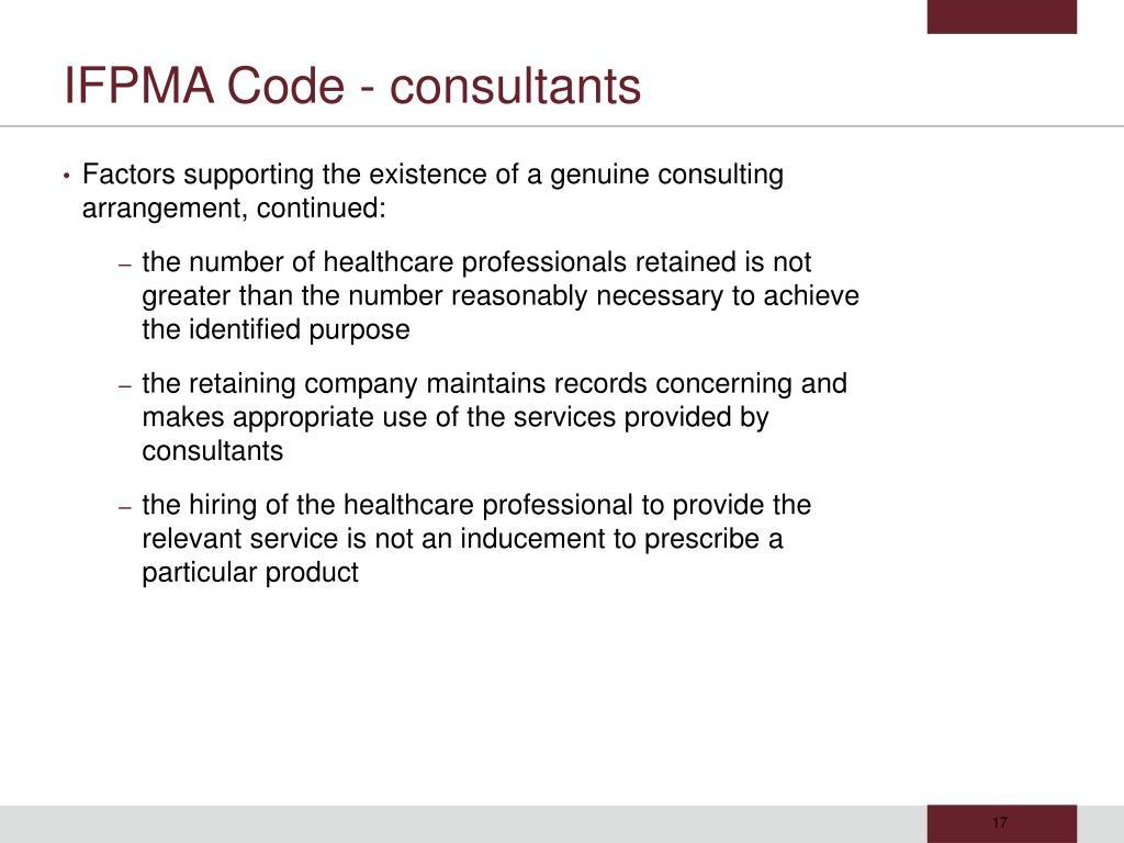 IFPMA Code - consultants