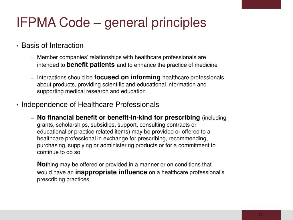 IFPMA Code – general principles