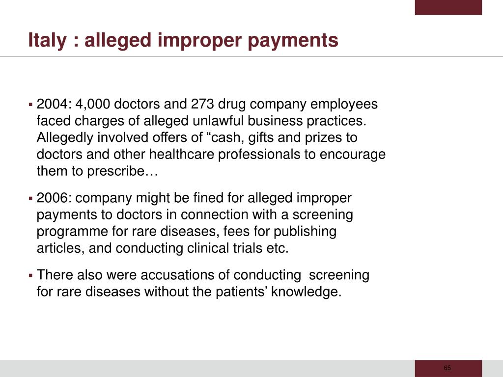 Italy : alleged improper payments
