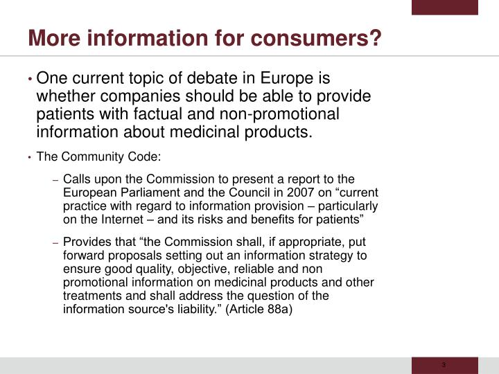 More information for consumers