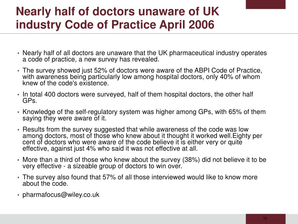 Nearly half of doctors unaware of UK industry Code of Practice April 2006