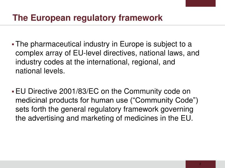 The european regulatory framework