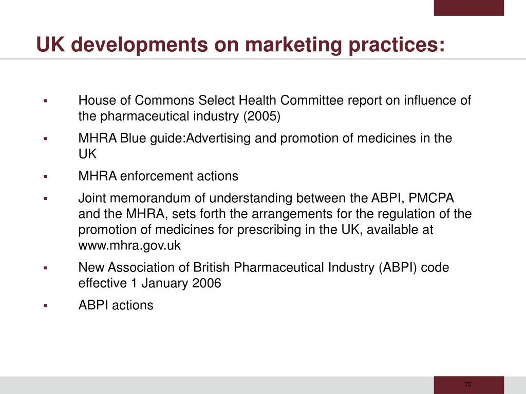 UK developments on marketing practices: