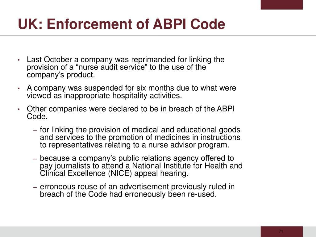 UK: Enforcement of ABPI Code