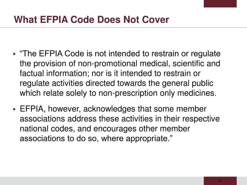 What EFPIA Code Does Not Cover