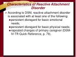 characteristics of reactive attachment disorder