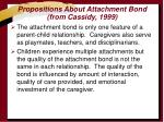propositions about attachment bond from cassidy 1999