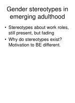gender stereotypes in emerging adulthood