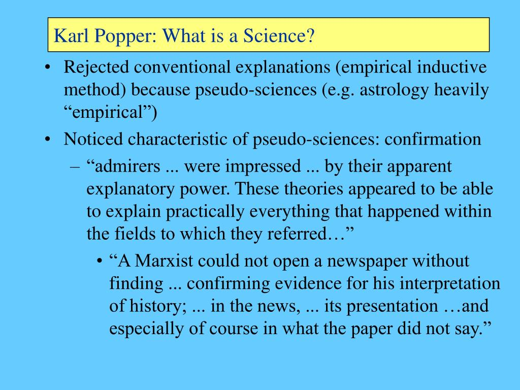 Karl Popper: What is a Science?