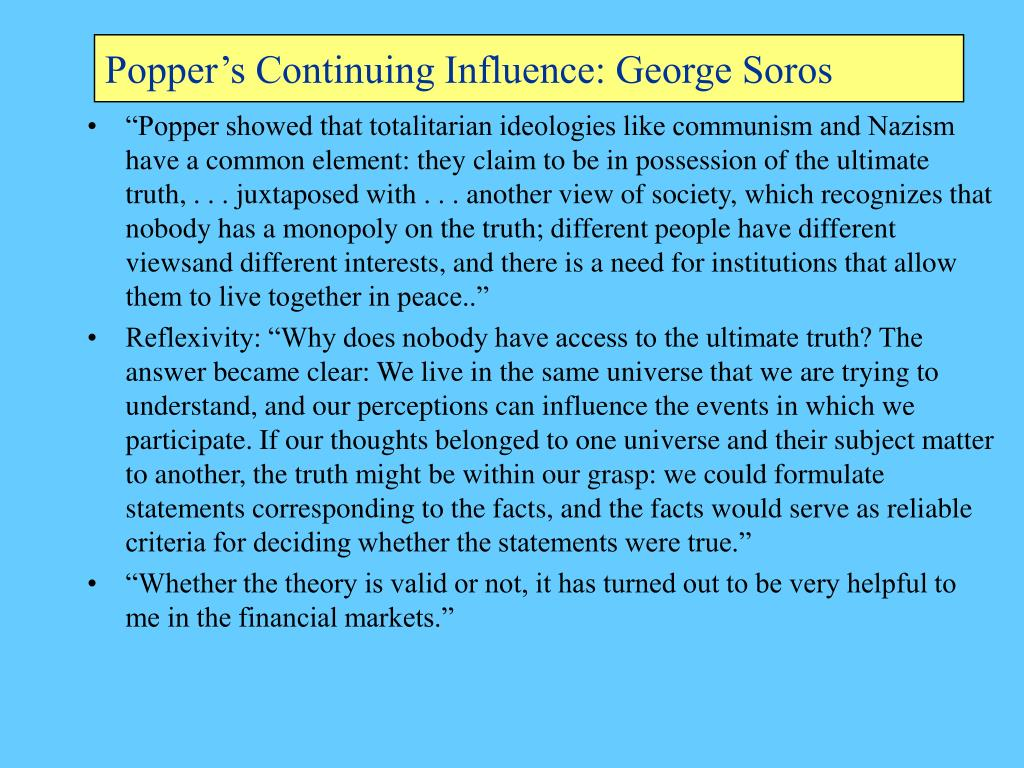 Popper's Continuing Influence: George Soros