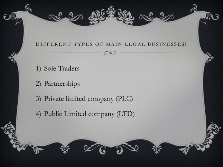 Different types of main legal businesses