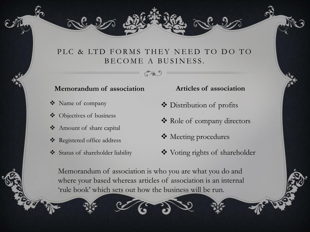PLC & LTD forms they need to do to become a business.