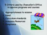5 criteria used by chancellor s office to approve programs and courses
