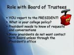 role with board of trustees