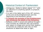 historical context of frankenstein