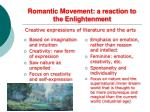 romantic movement a reaction to the enlightenment